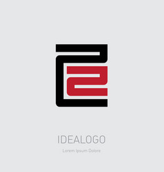 22 - logo design element or icon with numbers 2 vector image