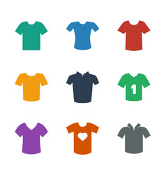 9 tshirt icons vector image