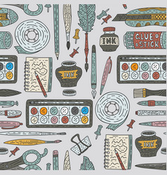 art accessories seamless pattern doodle vector image