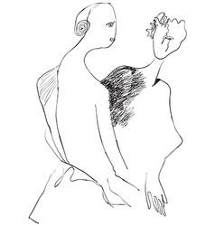 Art of Line Art - Lovers vector