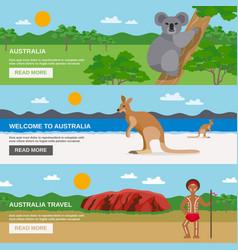 Australia travel horizontal banners set vector