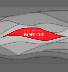 background red and gray color paper cut shapes 3d vector image