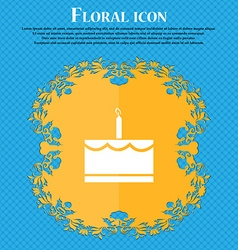 Birthday cake icon sign floral flat design on a vector