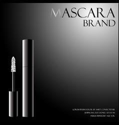 Black mascara with a white applicator for the vector