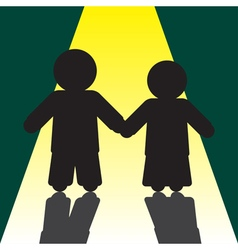 boy and girl silhouettes with shadows vector image