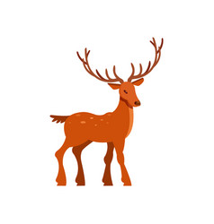 Brown spotted majestic deer with antlers wild vector
