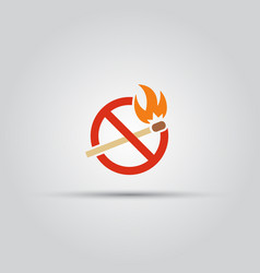 burning match prohibition symbol or warning sign vector image