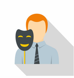 Businessman holding fake mask smile icon vector