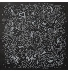 Cartoon hand-drawn Love Doodles Chalkboard vector