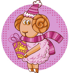 cartoon sheep character vector image