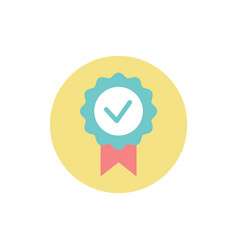 check mark in circle prize award for achievements vector image