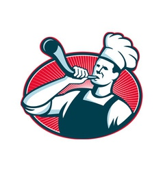 chef cook blowing bull horn vector image