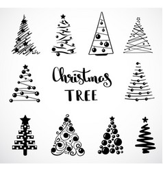 christmas collection of decorative trees isolated vector image