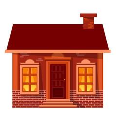 christmas house with panoramic windows vector image