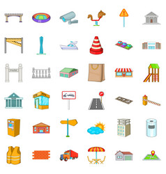 City building icons set cartoon style vector