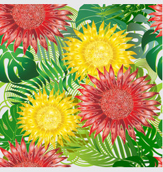 Colorful exotic tropical flowers seamless pattern vector