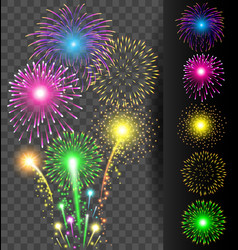 Colorful firework set on translucent background vector image