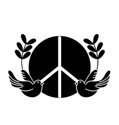 Contour hippie emblem with doves and branches vector