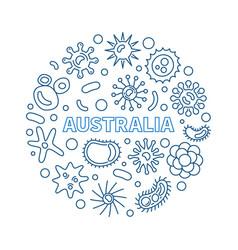 Coronavirus in australia round thin line vector