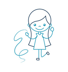 Cute girl with ribbon character icon vector