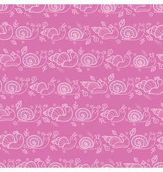 Cute smiling snails pink stripes seamless pattern vector