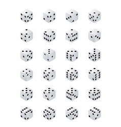 dice isometric variants white game cubes isolated vector image