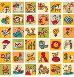 Doodles business icons color set vector