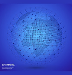 earth globe with wireframe sphare vector image