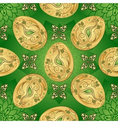 Easter seamless green pattern with golden eggs vector