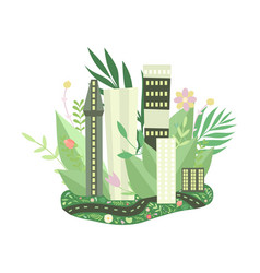 eco friendly green city and urban landscape vector image