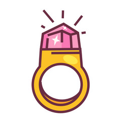 expensive gold ring with big pink shiny diamond vector image