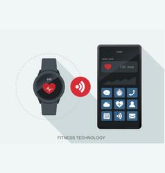 fitness technology mobile data synchronize vector image