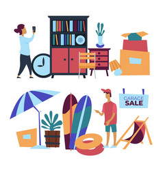 Garage sale with used household items vector