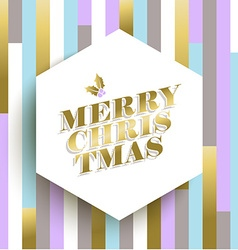 Gold christmas card design on geometric background vector