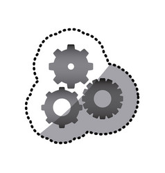grayscale gears sign icon vector image vector image