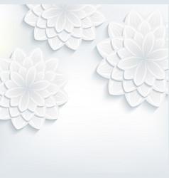 Greeting card with 3d flower chrysanthemum vector