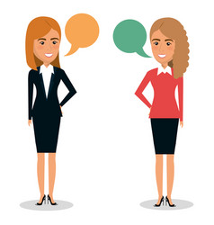 group of businesswoman teamwork with speech vector image