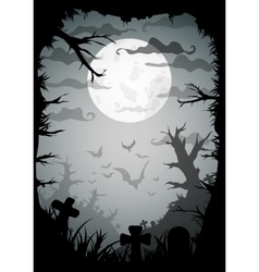halloween black and white spooky a4 frame border vector image