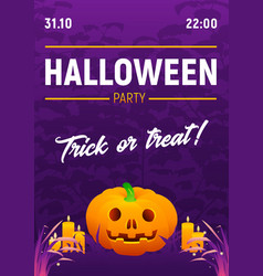 halloween party poster with spooky text vector image