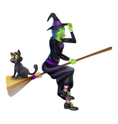 Halloween witch on broomstick with cat vector