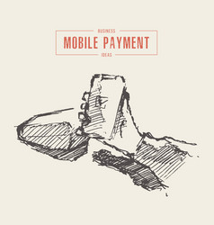 hand hold phone terminal mobile payment vector image
