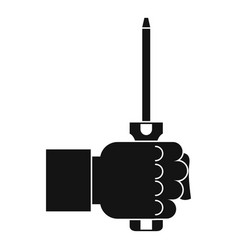Hand holding screwdriver tool icon simple style vector