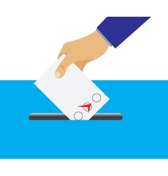 Hand putting voting paper in the ballot box vector image