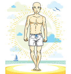 Handsome bald young man standing on tropical vector