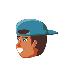 head of man black with cap avatar character vector image