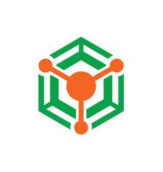 hexagon technology business logo vector image