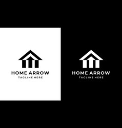 home house with three arrow up logo design vector image