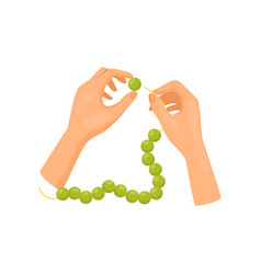Human hands working with green beads top view vector