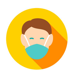 Human head in medical mask circle icon vector