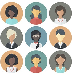 Icons Set of Persons Female Different Ethnic vector